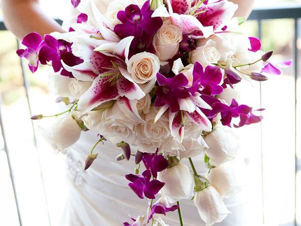 Cascade Roses & Orchids Arrangement Le Bora Bora