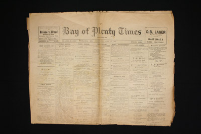 Newspaper, Bay of Plenty Times HC141/1-3