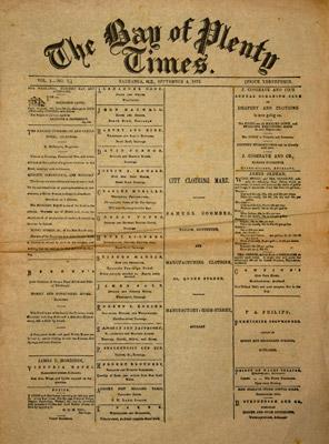 Newspaper, Bay of Plenty Times 1872 HC147/1-35