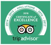 2018: Tripadvisor Hall of Fame WINNER – for 8 years in a row Tripadvisor Certificate of Excellence