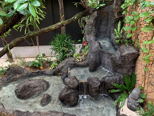 New waterfall in the lobby of Le Taha'a Island Resort & Spa  Le Taha'a by Pearl Resorts