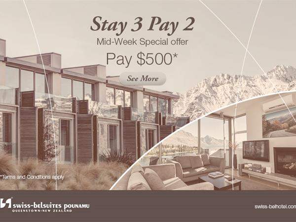 Stay 3 Pay 2 - Mid-Week Special Offer Swiss-Belsuites Pounamu, Queenstown, New Zealand