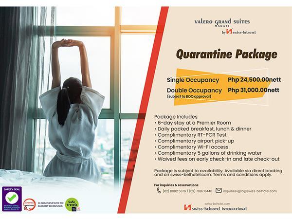Quarantine Package - 7 Nights Valero Grand Suites by Swiss-Belhotel Makati