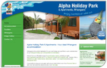 Colourful new website for Alpha Holiday Park & Apartments, Whangarei