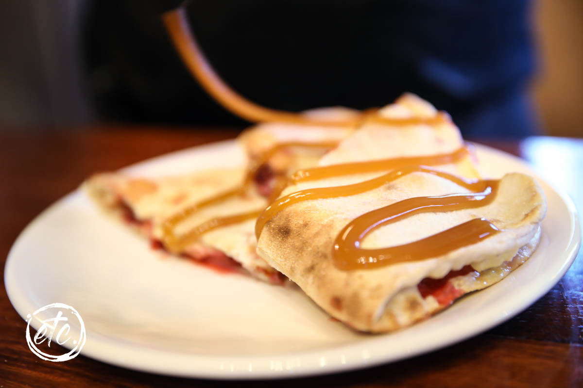 Apple & Berry Calzone with Salted Caramel Sauce @ Ferris Road Brewery