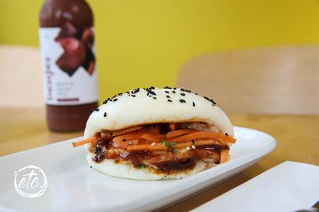 Sticky Pork Bao @ Maniototo Cafe
